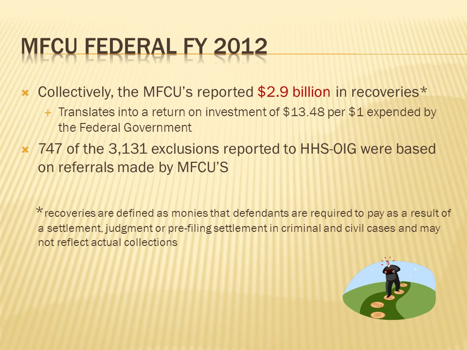  Collectively, the MFCU's reported $2.9 billion in recoveries*  Translates into a return on investment of $13.48 per $1 expended by the Federal Government  747 of the 3,131 exclusions reported to HHS-OIG were based on referrals made by MFCU'S * recoveries are defined as monies that defendants are required to pay as a result of a settlement, judgment or pre-filing settlement in criminal and civil cases and may not reflect actual collections