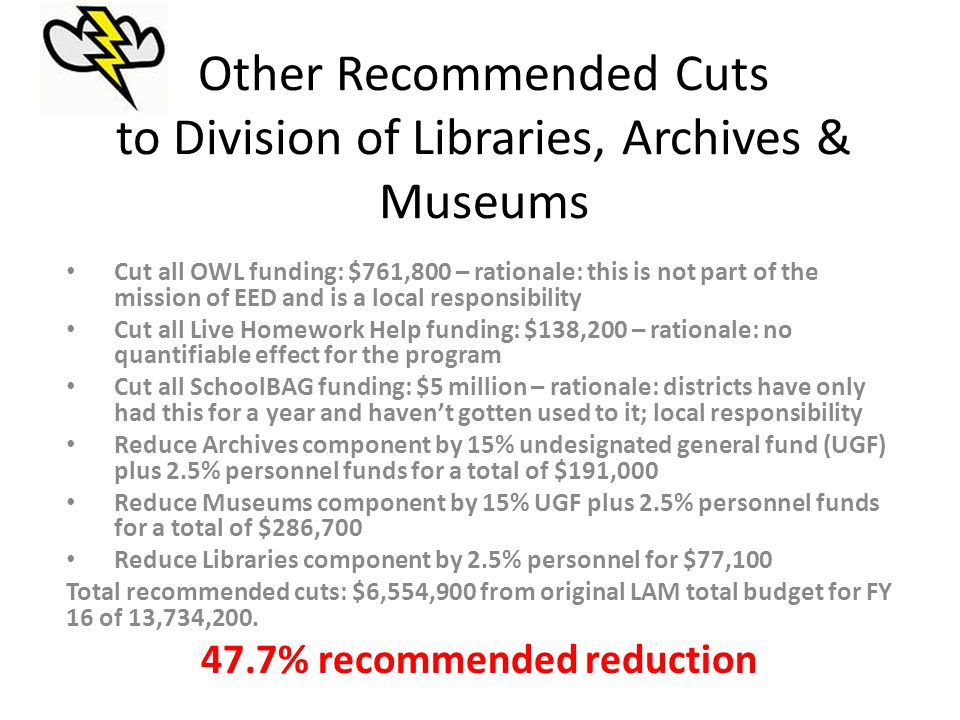 Other Recommended Cuts to Division of Libraries, Archives & Museums Cut all OWL funding: $761,800 – rationale: this is not part of the mission of EED and is a local responsibility Cut all Live Homework Help funding: $138,200 – rationale: no quantifiable effect for the program Cut all SchoolBAG funding: $5 million – rationale: districts have only had this for a year and haven't gotten used to it; local responsibility Reduce Archives component by 15% undesignated general fund (UGF) plus 2.5% personnel funds for a total of $191,000 Reduce Museums component by 15% UGF plus 2.5% personnel funds for a total of $286,700 Reduce Libraries component by 2.5% personnel for $77,100 Total recommended cuts: $6,554,900 from original LAM total budget for FY 16 of 13,734,200.