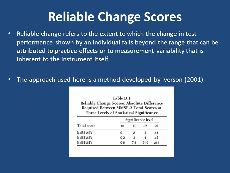 Reliable change refers to the extent to which the change in test performance shown by an individual falls beyond the range that can be attributed to p