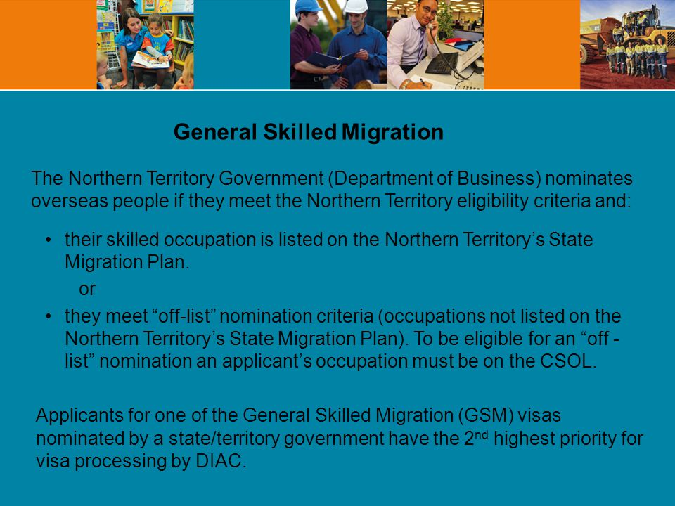 The Northern Territory will nominate all eligible students who have successfully completed a qualification as the result of two years full-time study at CDU (and have a positive skills assessment, meet any registration/licensing requirements for their occupation and meet the DIAC criteria for the visa which they are applying).