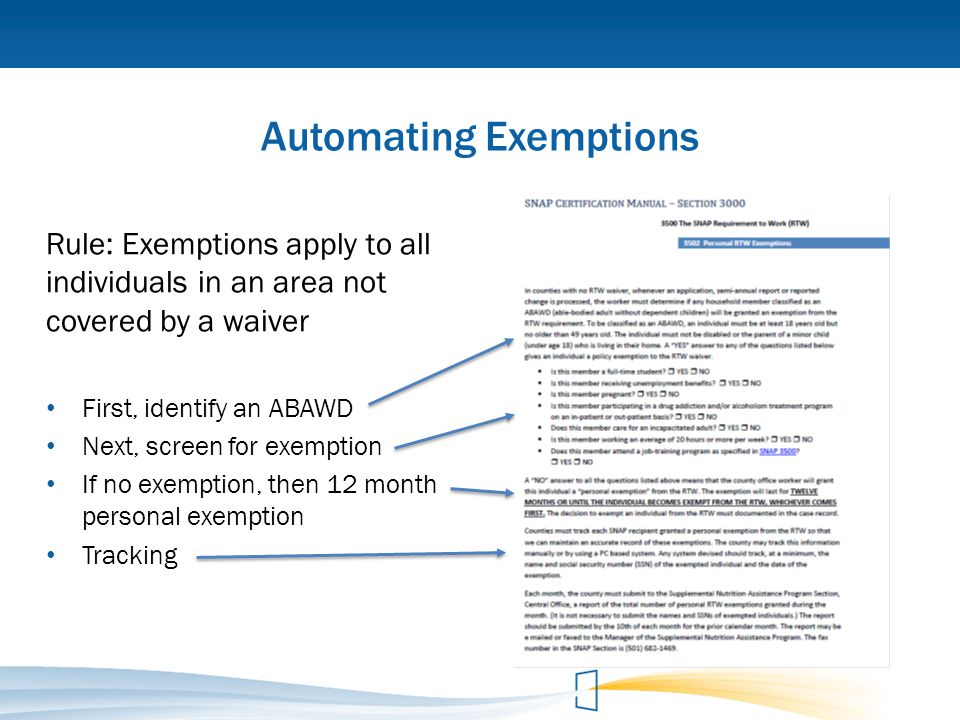 Automating Exemptions Rule: Exemptions apply to all individuals in an area not covered by a waiver First, identify an ABAWD Next, screen for exemption