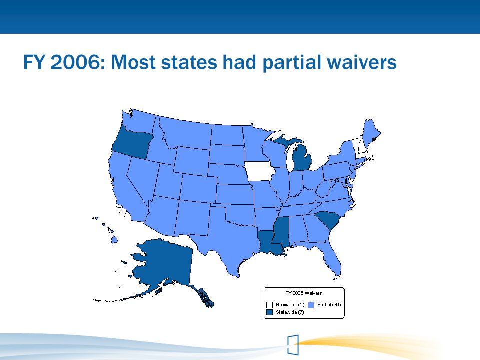 FY 2006: Most states had partial waivers