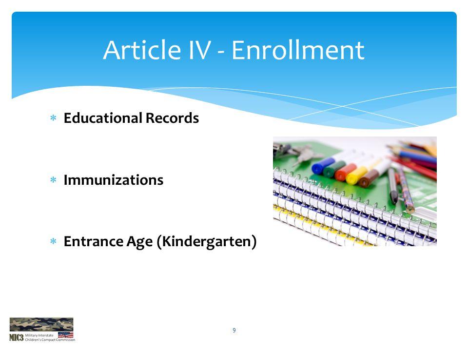  Educational Records  Immunizations  Entrance Age (Kindergarten) Article IV - Enrollment 9