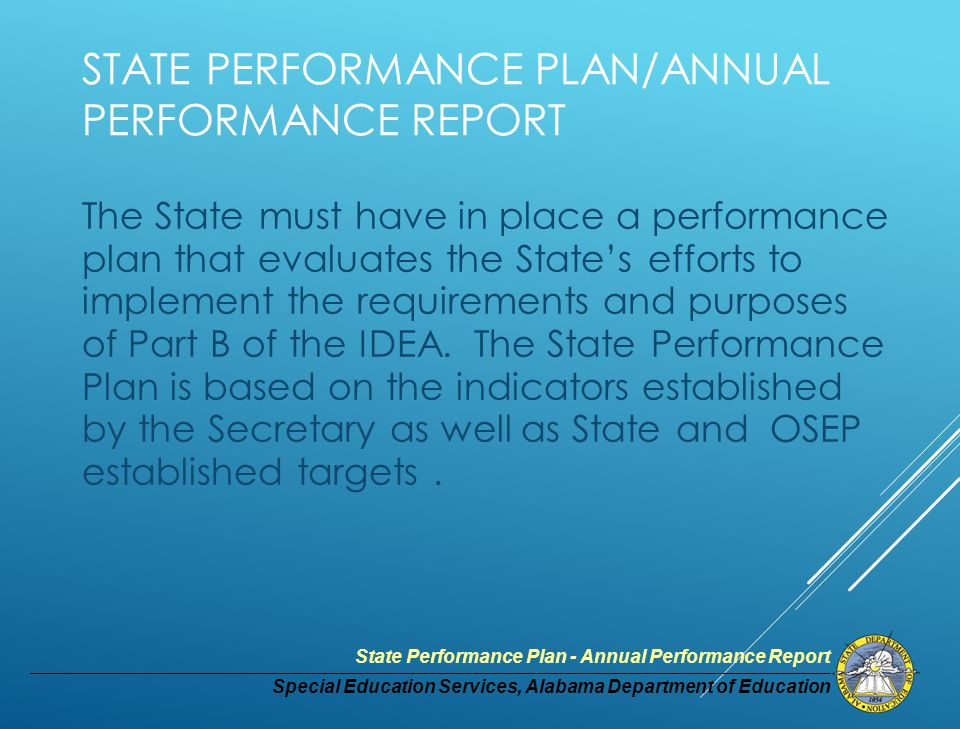 Special Education Services, Alabama Department of Education State Performance Plan - Annual Performance Report Indicator # 17 - State Systemic Improvement Plan MEASUREMENT: The State's SPP/APR includes a comprehensive, multi-year State Systemic Improvement Plan, focused on improving results for students with disabilities, that includes the following components, as further defined in the next few slides.