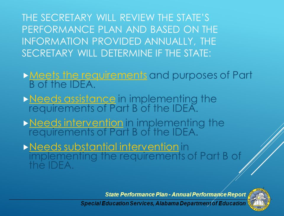 Special Education Services, Alabama Department of Education State Performance Plan - Annual Performance Report STATE SYSTEMIC IMPROVEMENT PLAN Indicator # 17 - State Systemic Improvement plan Phase II (which, in addition to the Phase 1 content outlined above, the State must include with its 2016 submission of its SPP/APR for FFY 2014): e.Infrastructure Development; f.Support for local educational agency Implementation of Evidence-Based Practices; and Evaluation Plan.