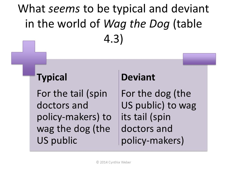 What seems to be typical and deviant in the world of Wag the Dog (table 4.3) Typical For the tail (spin doctors and policy-makers) to wag the dog (the