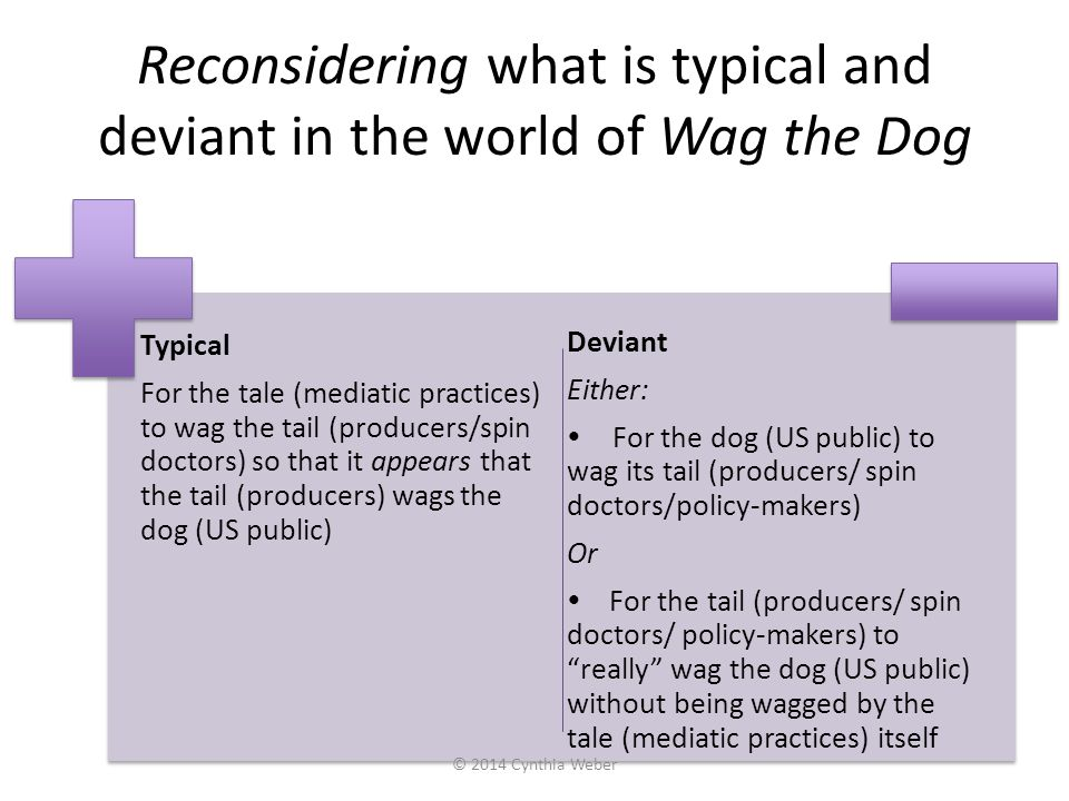 Reconsidering what is typical and deviant in the world of Wag the Dog Typical For the tale (mediatic practices) to wag the tail (producers/spin doctor