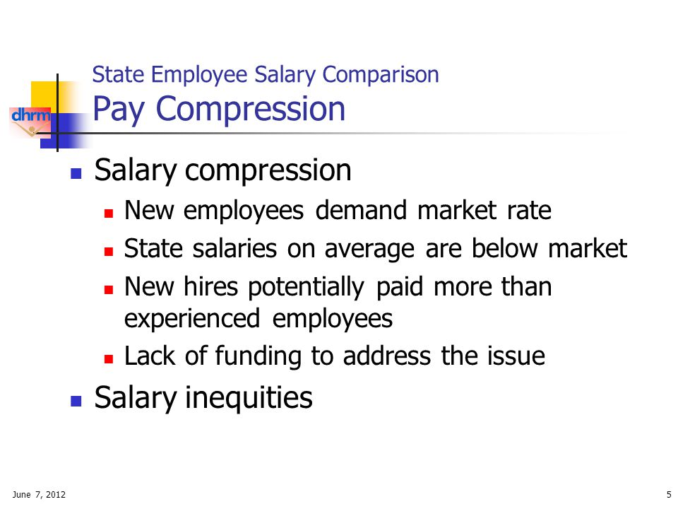 June 7, 20125 State Employee Salary Comparison Pay Compression Salary compression New employees demand market rate State salaries on average are below market New hires potentially paid more than experienced employees Lack of funding to address the issue Salary inequities