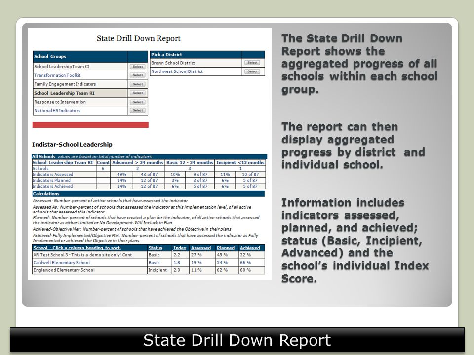 The State Drill Down Report shows the aggregated progress of all schools within each school group.