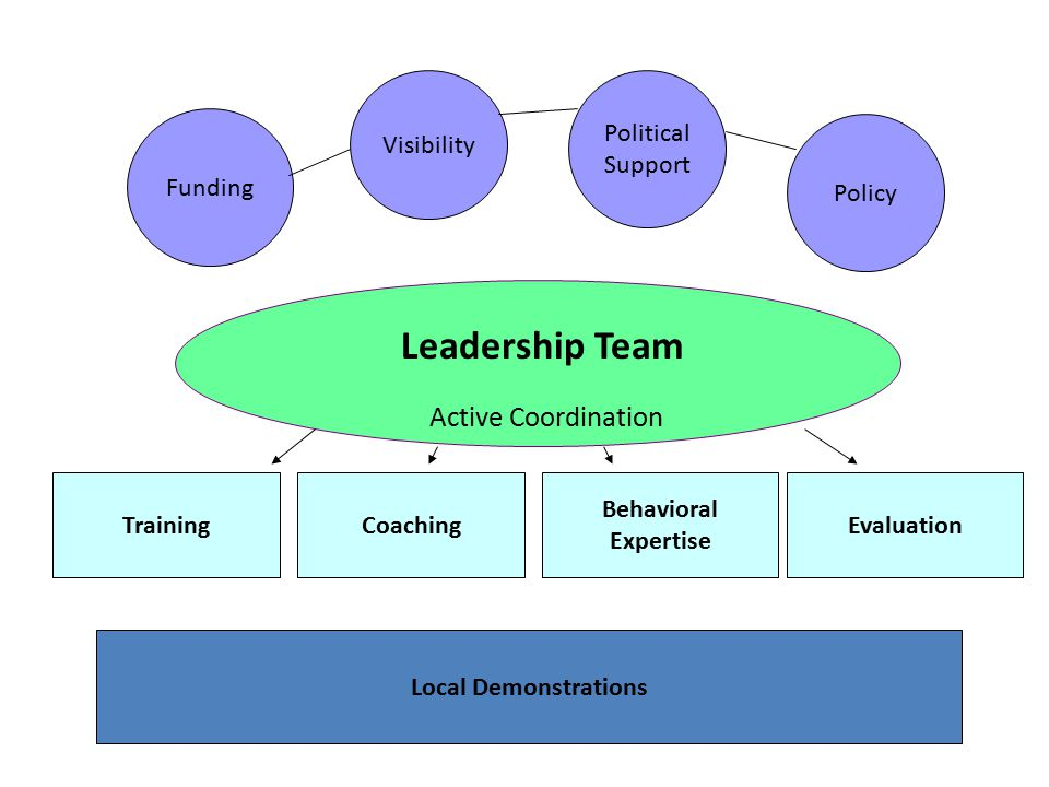 Leadership Team Funding Visibility Political Support TrainingCoachingEvaluation Local Demonstrations Active Coordination Behavioral Expertise Policy