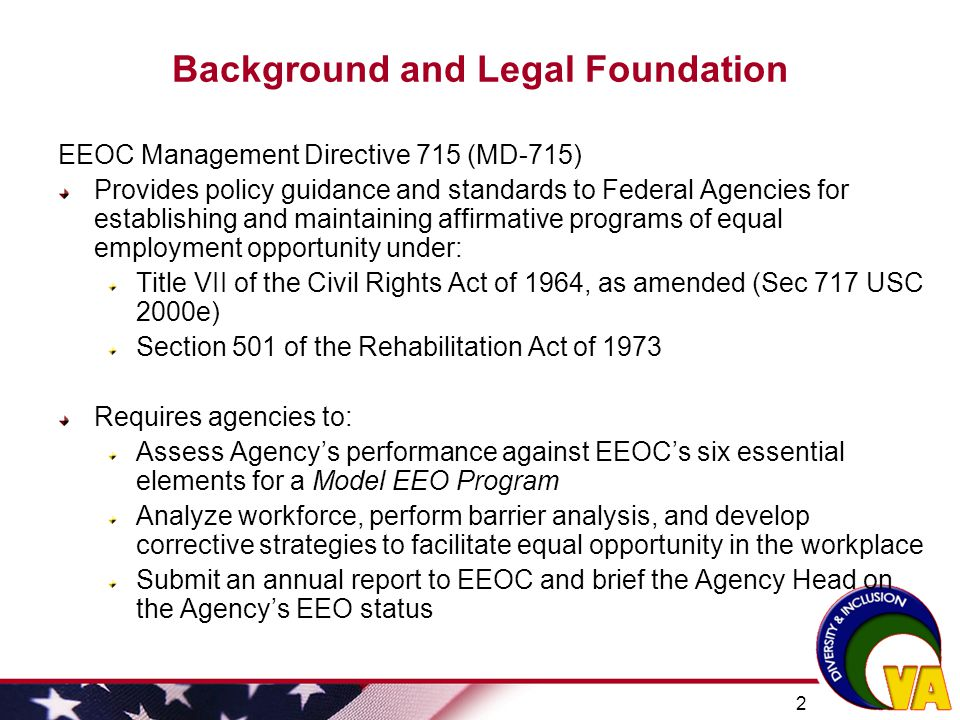 23 Plan to Eliminate Barriers continued  Fully implement VA Plan on Employment and Retention of Individuals with Disabilities  Implement Applicant Flow/Adverse Impact Analysis tool in VA recruitment and leadership development selection processes  Provide standardized VA-wide training in EEO, diversity, and conflict management for all employees  Increase use of ADR throughout Discrimination Complaint process  Expand use of organizational climate survey data to identify potential barriers to inclusion (e.g., disparate perceptions of fairness and empowerment based on race, ethnicity, gender and generation)