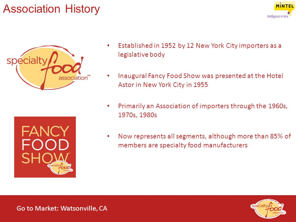 WEBINARS@WORK State of the Specialty Food Industry 2014 Association History Established in 1952 by 12 New York City importers as a legislative body In