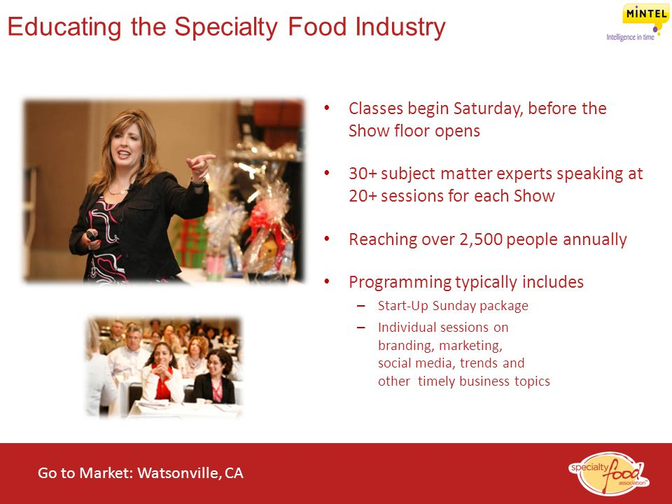 WEBINARS@WORK State of the Specialty Food Industry 2014 Classes begin Saturday, before the Show floor opens 30+ subject matter experts speaking at 20+