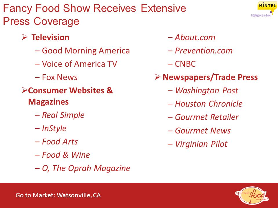 WEBINARS@WORK State of the Specialty Food Industry 2014 Fancy Food Show Receives Extensive Press Coverage  Television –Good Morning America –Voice of
