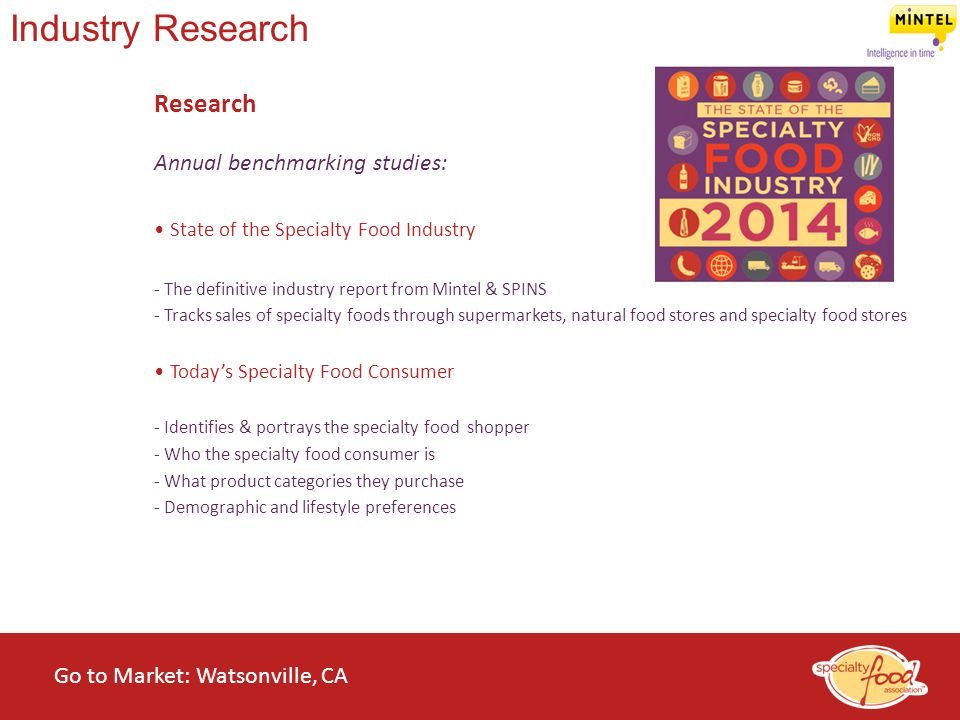 WEBINARS@WORK State of the Specialty Food Industry 2014 Industry Research Research Annual benchmarking studies: State of the Specialty Food Industry -