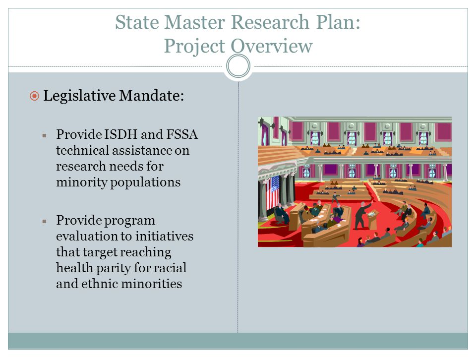 State Master Research Plan Vision: Building a strong epidemiological research network to reduce and eliminate health disparities in Indiana.