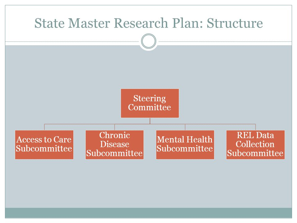 State Master Research Plan: Structure Steering Committee Access to Care Subcommittee Chronic Disease Subcommittee Mental Health Subcommittee REL Data
