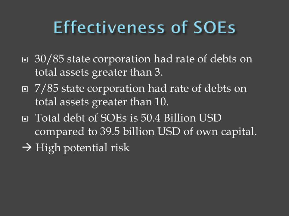  30/85 state corporation had rate of debts on total assets greater than 3.