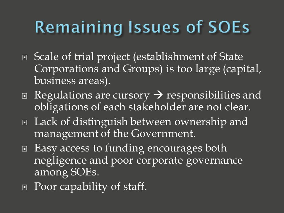  Scale of trial project (establishment of State Corporations and Groups) is too large (capital, business areas).