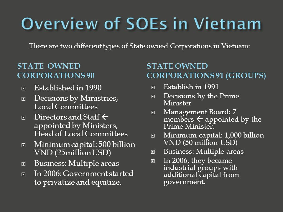 STATE OWNED CORPORATIONS 90 STATE OWNED CORPORATIONS 91 (GROUPS)  Established in 1990  Decisions by Ministries, Local Committees  Directors and Staff  appointed by Ministers, Head of Local Committees  Minimum capital: 500 billion VND (25million USD)  Business: Multiple areas  In 2006: Government started to privatize and equitize.