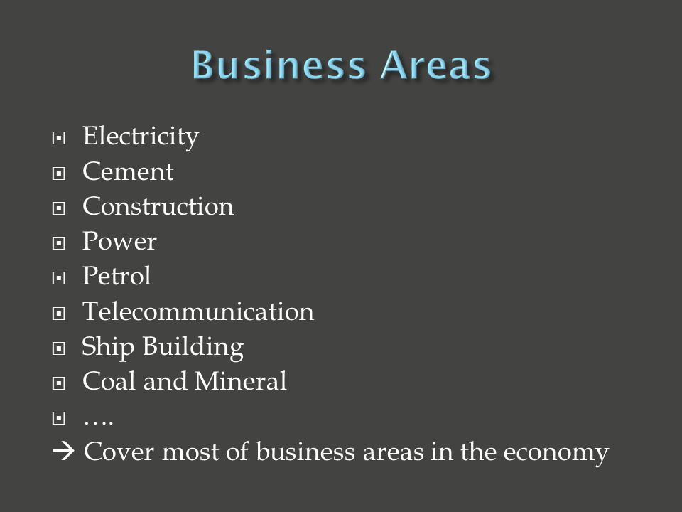  Electricity  Cement  Construction  Power  Petrol  Telecommunication  Ship Building  Coal and Mineral  ….