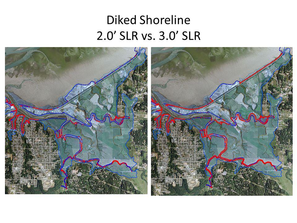 Diked Shoreline 2.0' SLR vs. 3.0' SLR