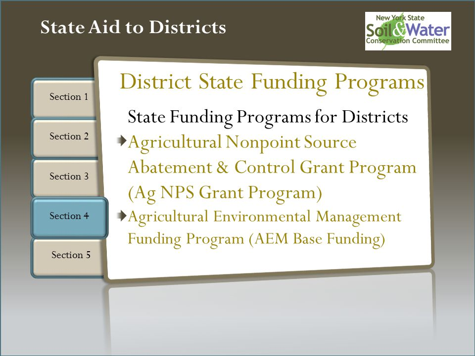 Section 3 Section 1 Section 5 State Aid to Districts Section 4 Section 2 State Funding Programs for Districts Agricultural Nonpoint Source Abatement & Control Grant Program (Ag NPS Grant Program) Agricultural Environmental Management Funding Program (AEM Base Funding) District State Funding Programs