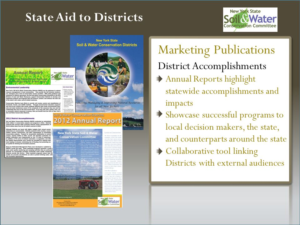 State Aid to Districts District Accomplishments Annual Reports highlight statewide accomplishments and impacts Showcase successful programs to local decision makers, the state, and counterparts around the state Collaborative tool linking Districts with external audiences Marketing Publications