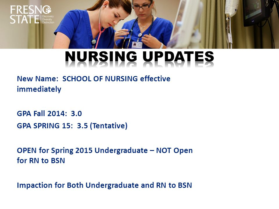 New Name: SCHOOL OF NURSING effective immediately GPA Fall 2014: 3.0 GPA SPRING 15: 3.5 (Tentative) OPEN for Spring 2015 Undergraduate – NOT Open for