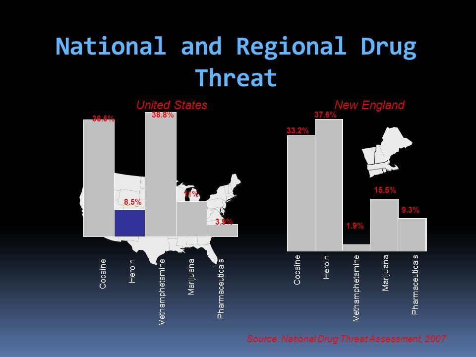 National and Regional Drug Threat Cocaine Heroin Methamphetamine Marijuana Pharmaceuticals Source: National Drug Threat Assessment, 2007 Cocaine Heroi