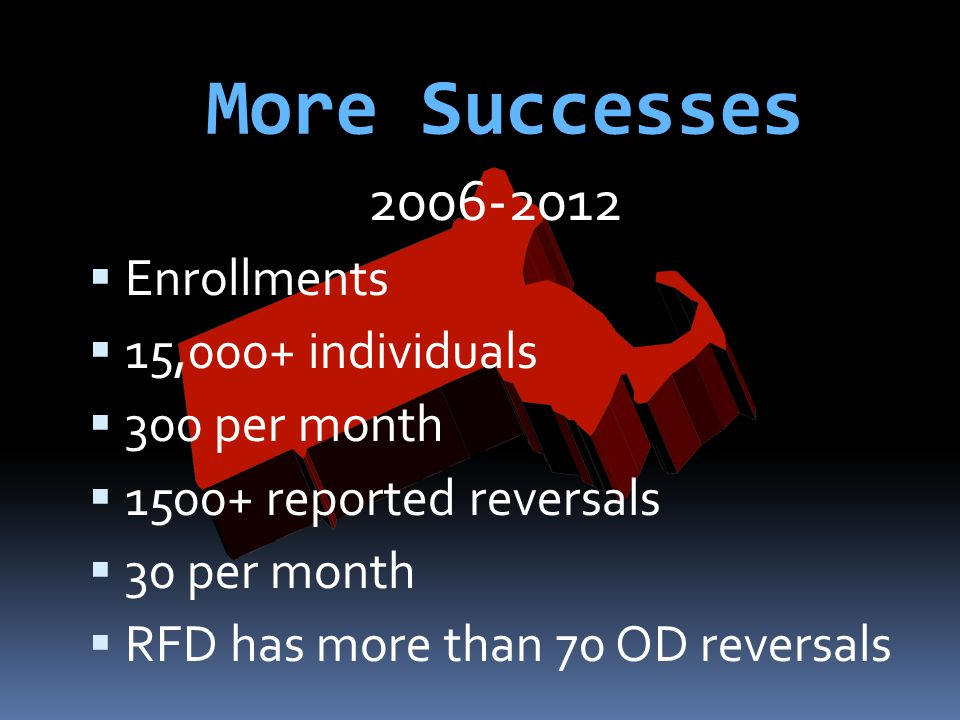 More Successes 2006-2012  Enrollments  15,000+ individuals  300 per month  1500+ reported reversals  30 per month  RFD has more than 70 OD rever