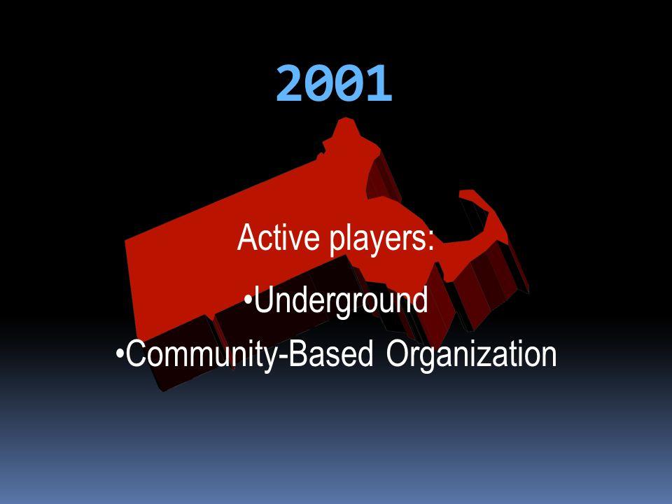 2001 Active players: Underground Community-Based Organization