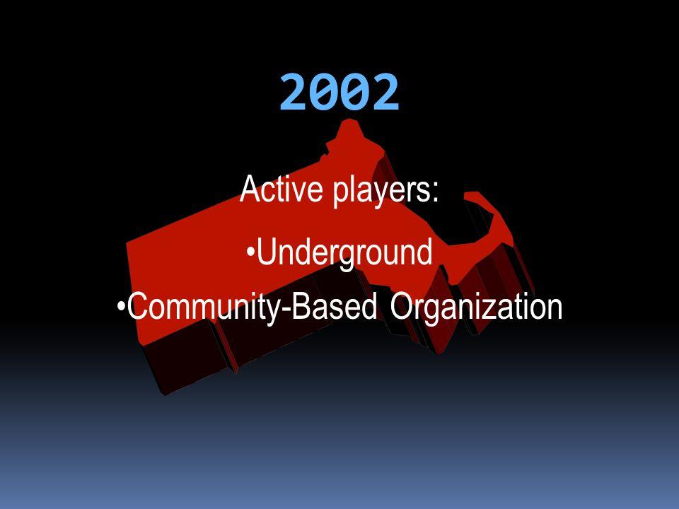 2002 Active players: Underground Community-Based Organization