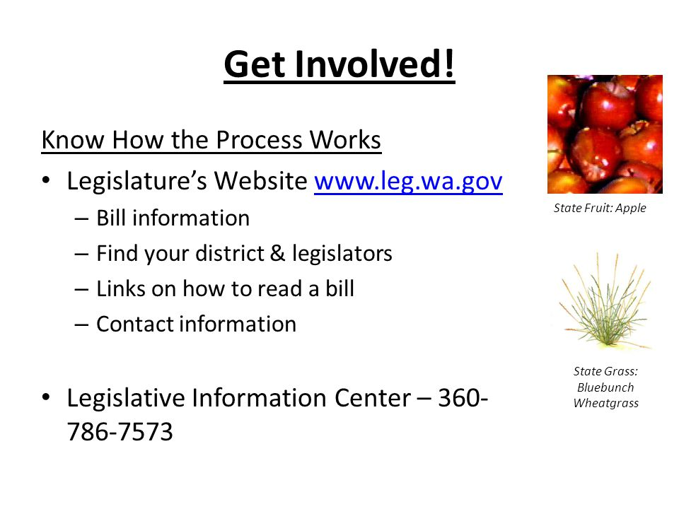 Get Involved! Know How the Process Works Legislature's Website www.leg.wa.govwww.leg.wa.gov – Bill information – Find your district & legislators – Li
