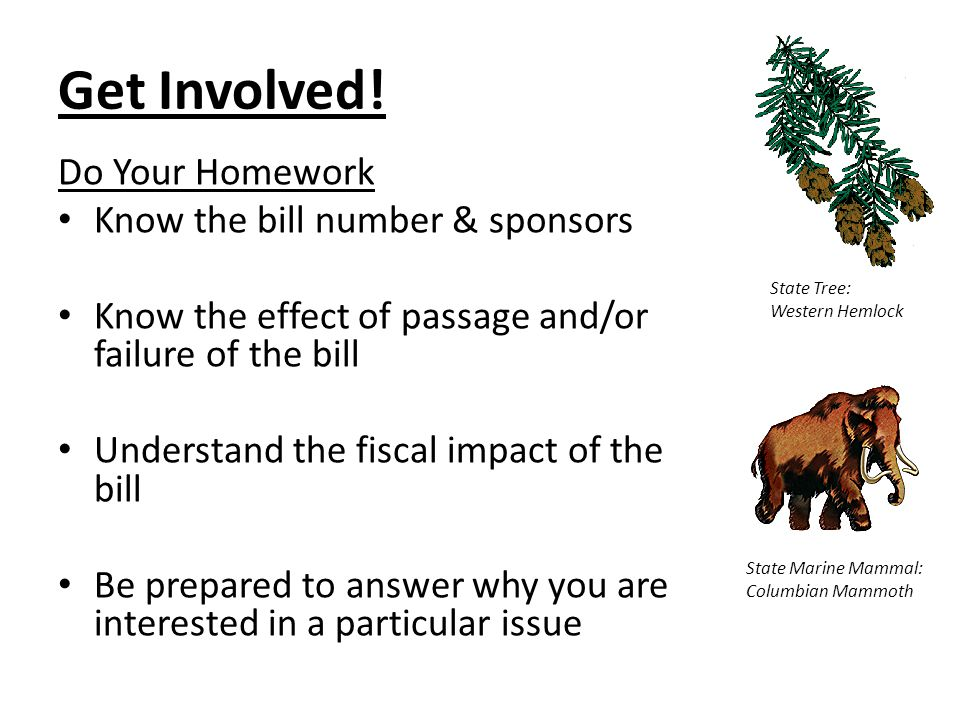 Get Involved! Do Your Homework Know the bill number & sponsors Know the effect of passage and/or failure of the bill Understand the fiscal impact of t