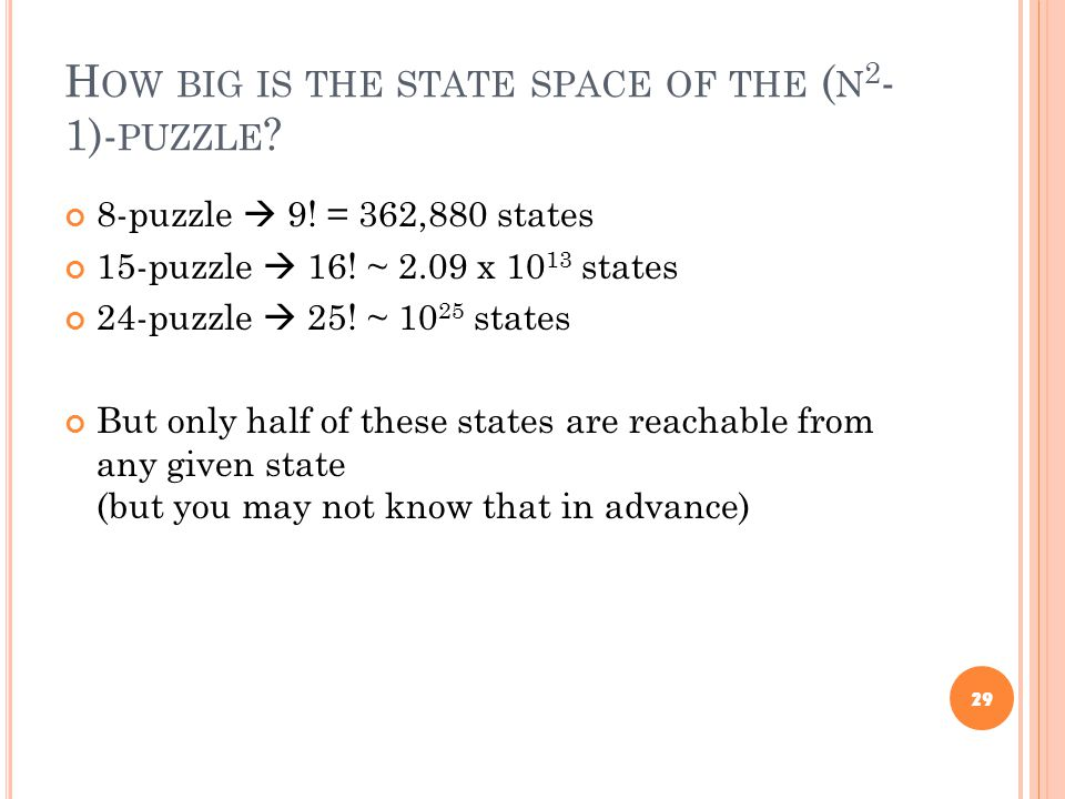H OW BIG IS THE STATE SPACE OF THE ( N 2 - 1)- PUZZLE ? 8-puzzle  9! = 362,880 states 15-puzzle  16! ~ 2.09 x 10 13 states 24-puzzle  25! ~ 10 25 s