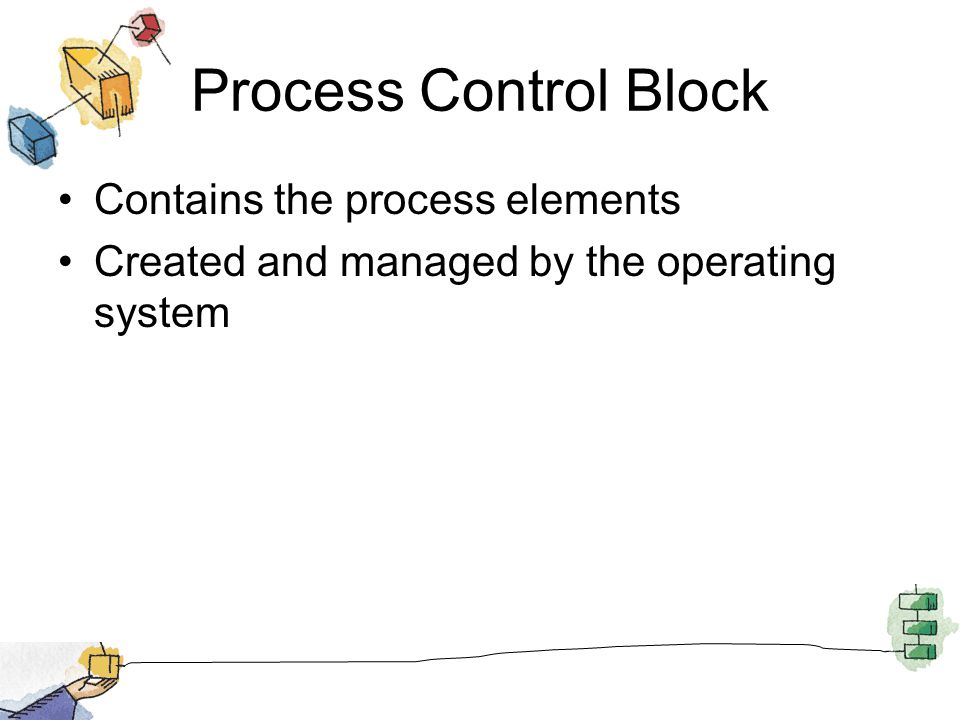 Process Control Block Contains the process elements Created and managed by the operating system