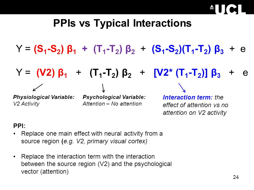 PPIs vs Typical Interactions PPI: Replace one main effect with neural activity from a source region (e.g. V2, primary visual cortex) Replace the inter