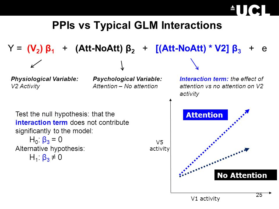 PPIs vs Typical GLM Interactions Interaction term: the effect of attention vs no attention on V2 activity V5 activity Psychological Variable: Attentio