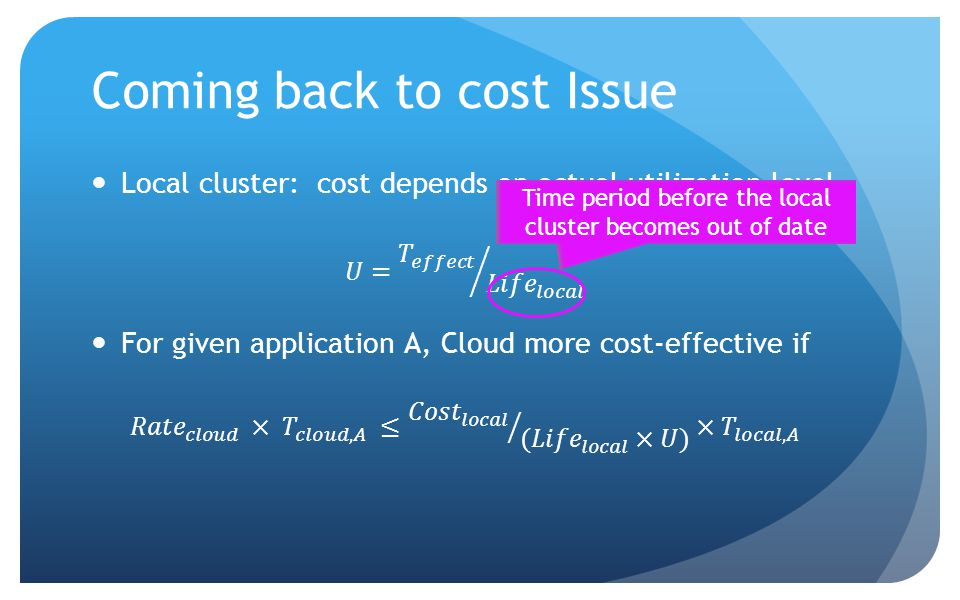 Coming back to cost Issue Time period before the local cluster becomes out of date