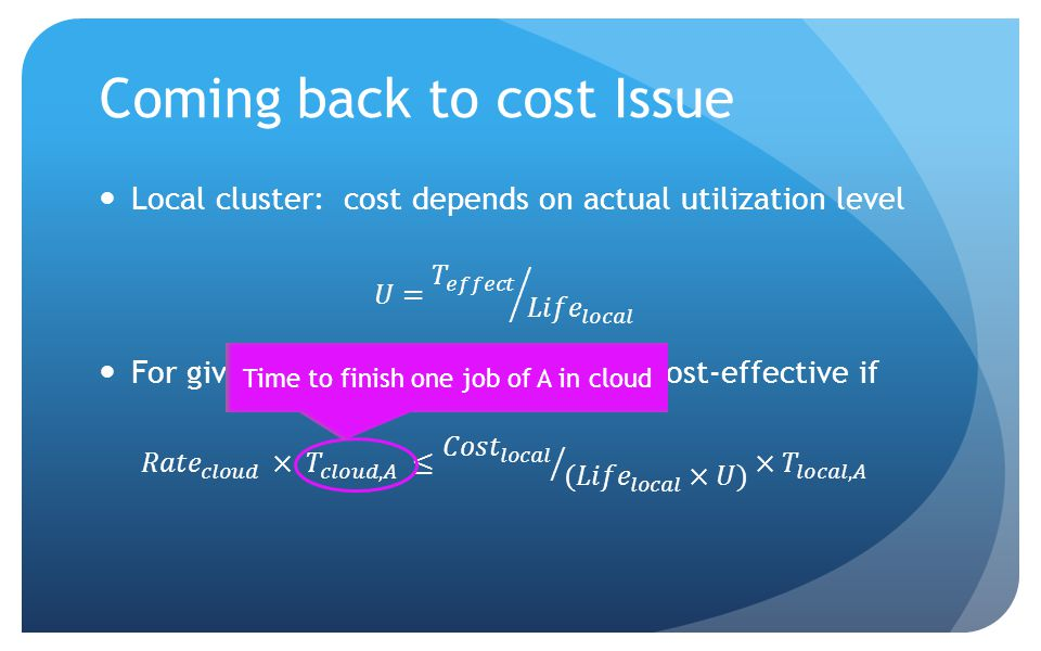 Coming back to cost Issue Time to finish one job of A in cloud