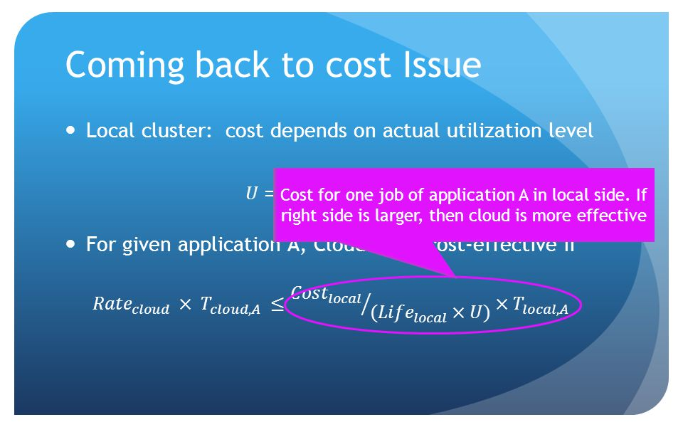Coming back to cost Issue Cost for one job of application A in local side.