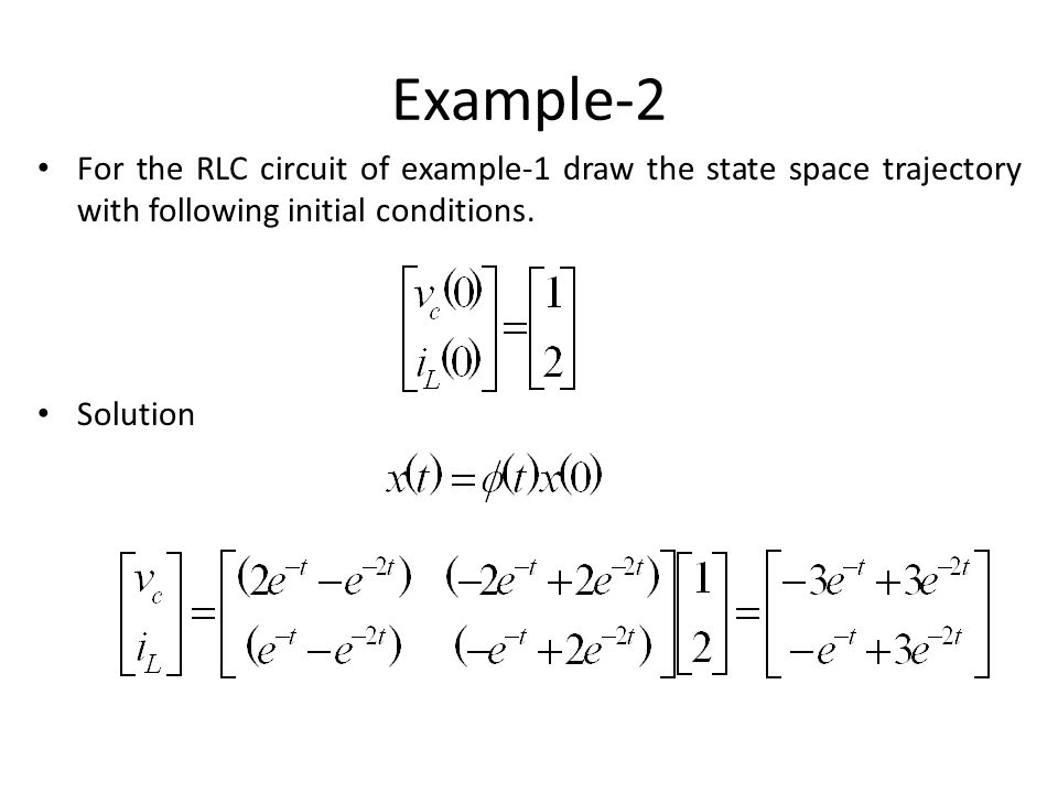 Example-2 For the RLC circuit of example-1 draw the state space trajectory with following initial conditions.