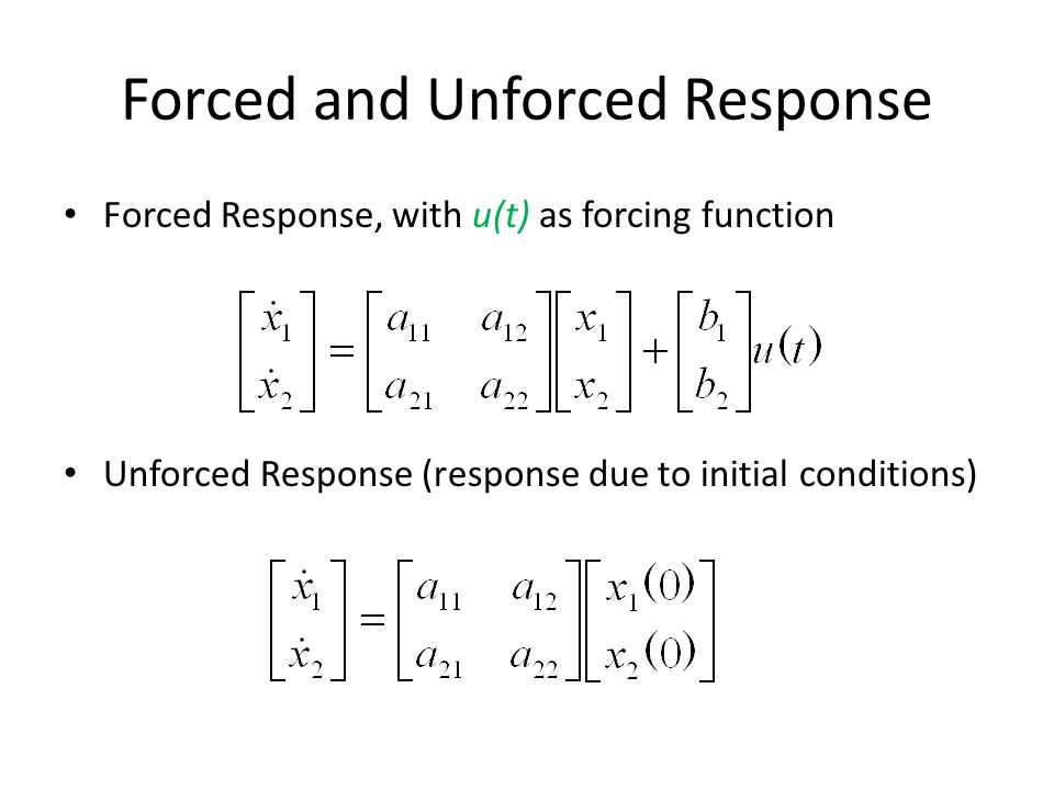 Forced and Unforced Response Forced Response, with u(t) as forcing function Unforced Response (response due to initial conditions)