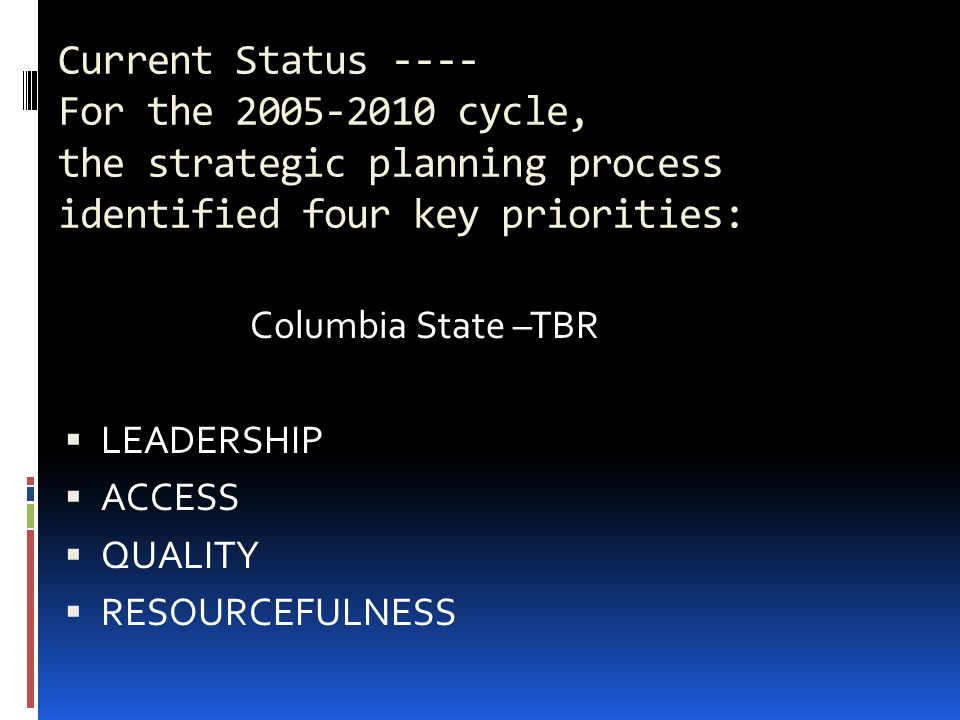 Current Status ---- For the 2005-2010 cycle, the strategic planning process identified four key priorities: Columbia State –TBR  LEADERSHIP  ACCESS  QUALITY  RESOURCEFULNESS