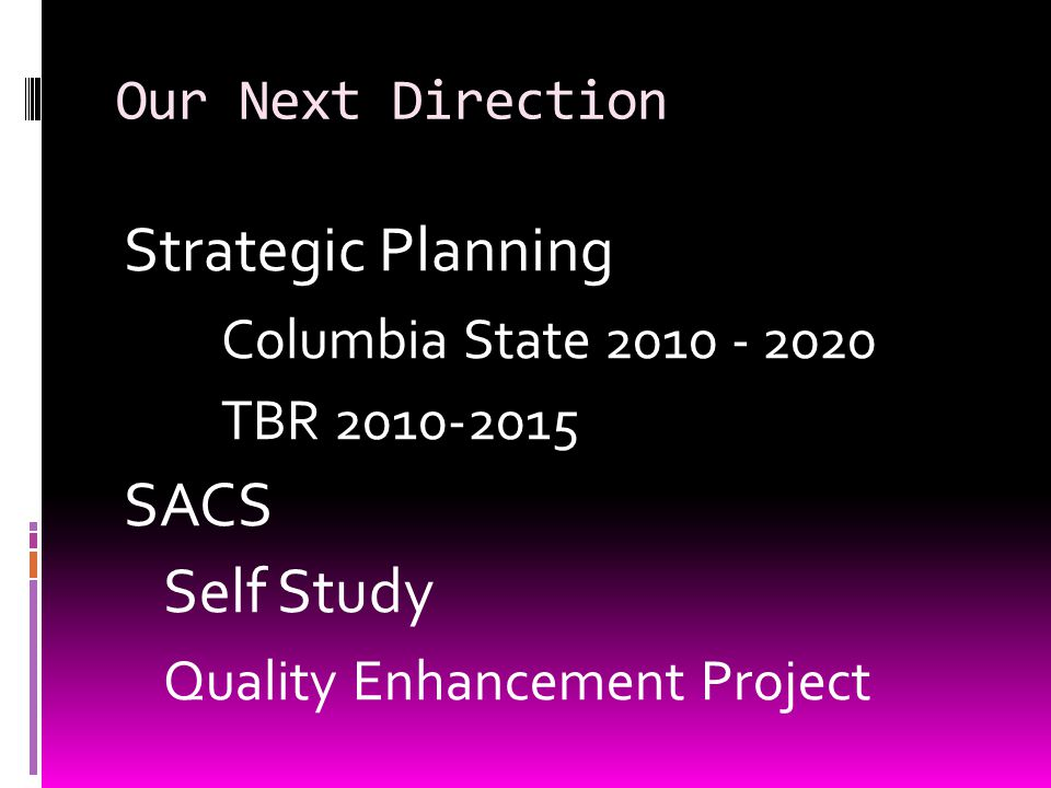 Columbia State  Mission  Vision  Role and Scope  Values  Key Priorities (TBR – Columbia State)