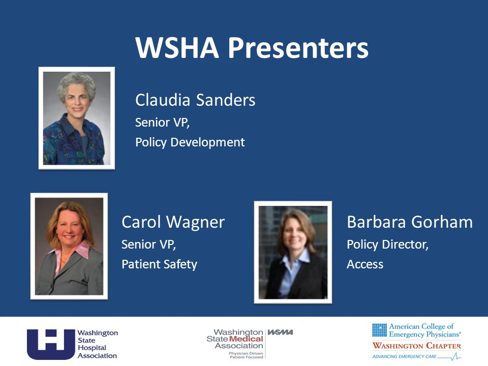 WSHA Presenters 2 Claudia Sanders Senior VP, Policy Development Carol Wagner Senior VP, Patient Safety Barbara Gorham Policy Director, Access