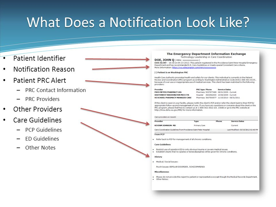 What Does a Notification Look Like? Patient Identifier Notification Reason Patient PRC Alert – PRC Contact Information – PRC Providers Other Providers