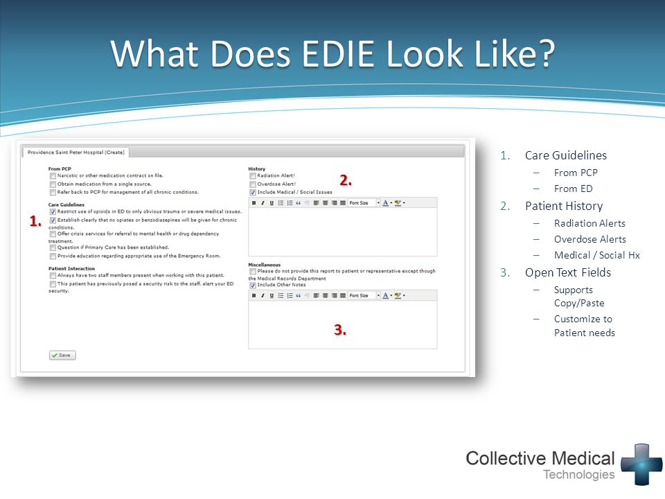 What Does EDIE Look Like? 1.Care Guidelines – From PCP – From ED 2.Patient History – Radiation Alerts – Overdose Alerts – Medical / Social Hx 3.Open T