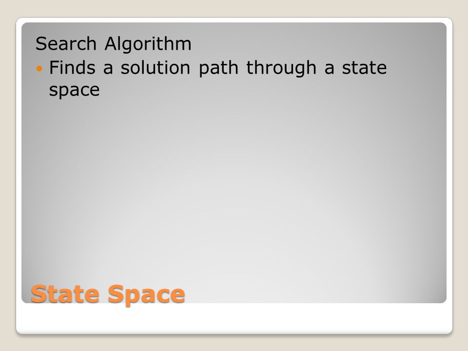 State Space Search Algorithm Finds a solution path through a state space